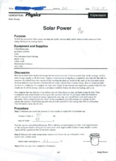 PHYS 1092 Solar Power