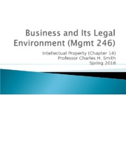 Mgmt 246--Sp16 Intellectual property (1).ppt