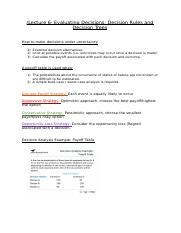 Lecture 6- Evaluating Decisions- Decision Rules and Decision Trees.docx