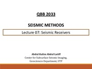 SM Lecture 07 - Seismic Receivers