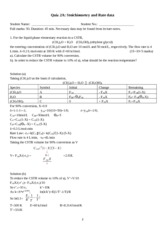 Quiz2A Stoichiometry and Isothermal reactor