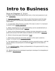Intro to Business Quizzes