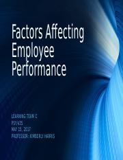 PSY 435 Week 4 Factors Affecting Employee Performance Presentation
