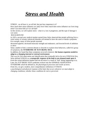 Stress and Health (2)
