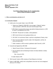 Outline, HIST 104, Class 5, Constitutionalism, Thurs Sept 8, 2011