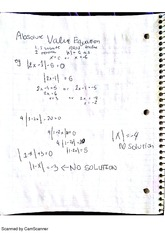 Absolute Value Equations, class notes