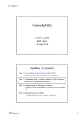 Embedded SQL Lecture Summary