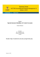 Week 6 Special journal, subsidiary & control account