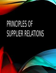 Principles of supplier relations
