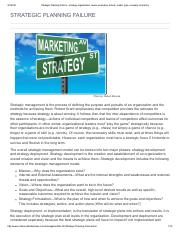 Strategic Planning Failure - strategy, organization, levels, examples, school, model, type, company,