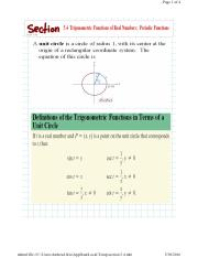 5.4 Trigonometric Functions of Real Numbers; Periodic Functions