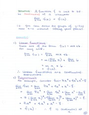 CHE 120 Continuous Linear Functions Notes