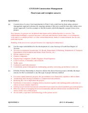 CIVE1149 Construction Management- reference answer