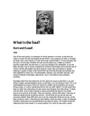 Bertrand Russell - What is the Soul