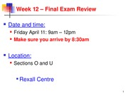 Final Exam Study Notes/Information