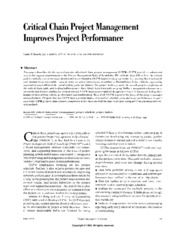 Critical Chain Project Management Improves Project Performance