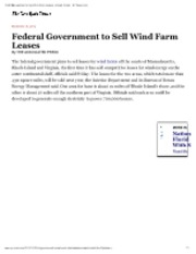 11-30-12 NYT Government to Sell Wind Farm Leases