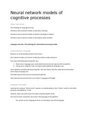 9 - Neural network models of cognitive processes.docx