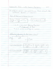 ECE 201 - Handnotes - Lecture 24 - Second Order Cricuits - RLC Source Free Cases or Constant Input -