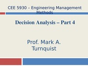 CEE 5930 Decision Analysis Part 4 --Fall 2014