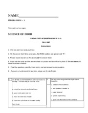 Fall 2007 ANSWERS SciofFood Exam Final K 1