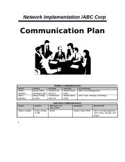 Shawn Stark - MGMT - 404 - Course Project - Week 7 - Communication Plan