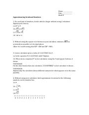Approximating Irrational Numbers assignment (2014-07-31) - Ashiq Ilahi S.G. Yousuf Mohammed.doc
