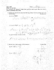 Exam A Fall 2010 Solutions on Calculus