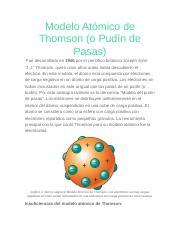 Modelo Atómico De Thomsondocx Modelo Atómico De Thomsono