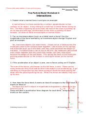 Balanced forces worksheet 2 interactions