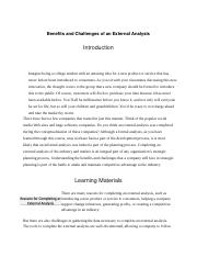 Benefits and Challenges of an External Analysis.docx