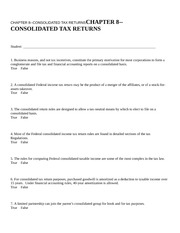 CHAPTER 8--CONSOLIDATED TAX