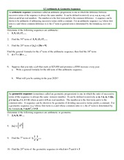 Study Guide on Arithmetic&Geometric Sequences