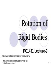 Lecture 9-Rotation of Rigid Bodies