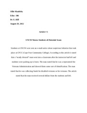 Article # 2 - UNCW warns students of potential scam - summary