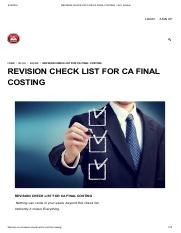 REVISION CHECK LIST FOR CA FINAL COSTING – SJC Institute