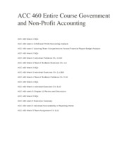 ACC 460 Entire Course Government and Non-Profit Accounting