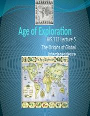 HIS 111 Exploration Lecture 5
