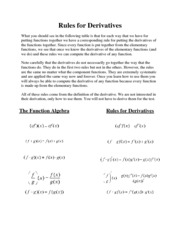 Rules for Derivatives