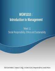 MGW1010_Week 11  Social responsibility Sustainabiliy Ethics