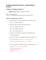 AP Chem 12 Oxidation Numbers Notes