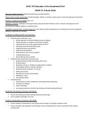 Ch 8 ADHD study guide