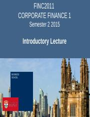 FINC2011 Introductory Lecture