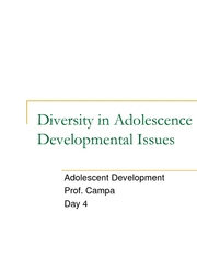 Diversity and Developmental Issues