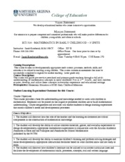 ECI 314 Early Childhood Mathematics Syllabus