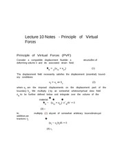 Lecture 10 Notes Principals of Virtual Forces