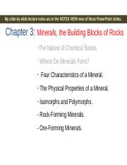 Lecture 3_ Ch. 3 (Minerals) and Ch. 4 (Intrusive igneous rocks).ppt