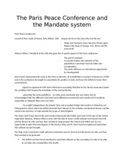 The Paris Peace Conference and the Mandate system.docx