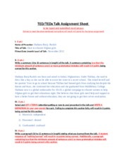 TED or TEDx Talk Assignment Sheet-3