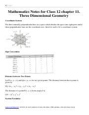 Mathematics Notes and Formula for Class 12 chapter 11. Three Dimensional Geometry.pdf